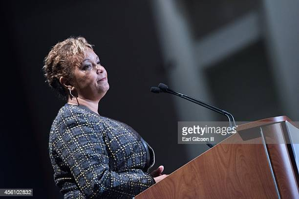 Lisa P Jackson speaks at the General Session Luncheon sponsored by Apple for the 44th Annual Legislative Conference at Walter E Washington Convention...