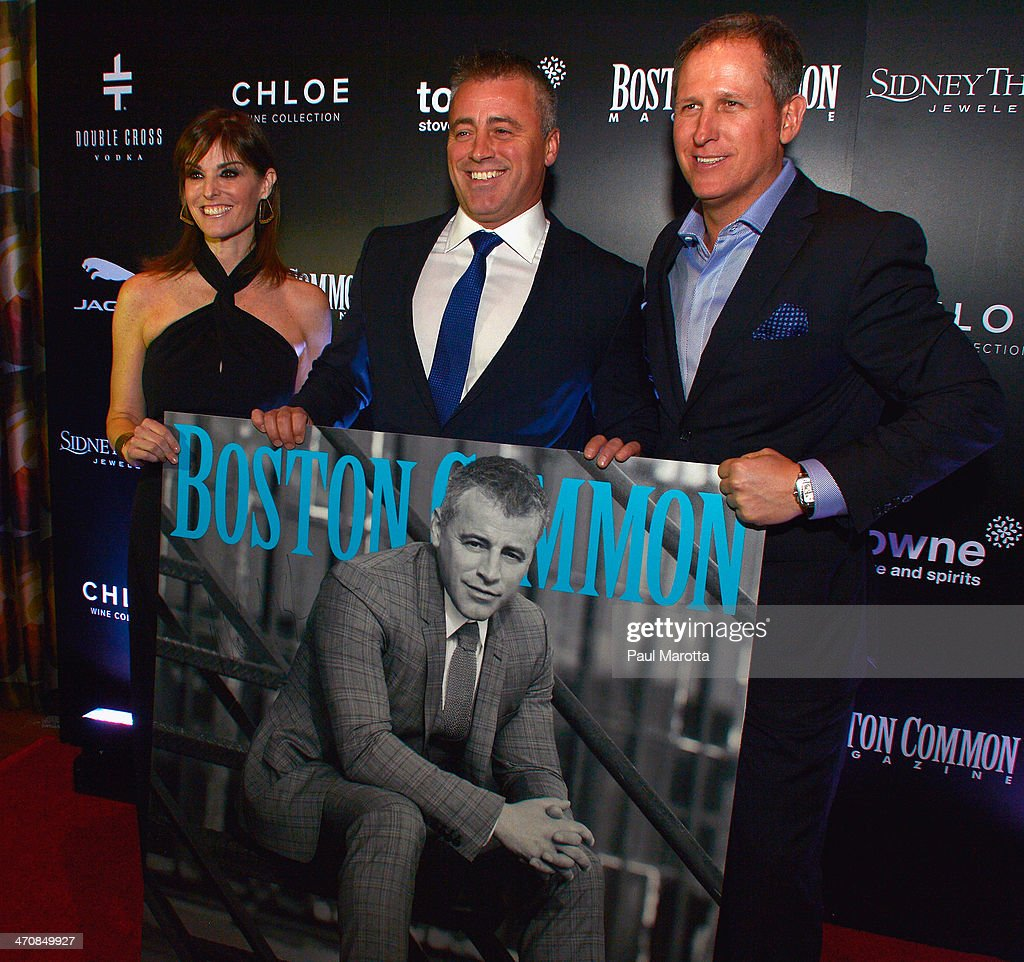 Lisa Pierpont, actor Matt LeBlanc and Boston Common Magazine Publisher Glen Kelley attend the Boston Common Magazine Celebration of its Spring Issue Hosted by Cover Star, Matt LeBlanc on February 20, 2014 in Boston, Massachusetts. (Photo by Paul Marotta/Getty Images for Boston Common Magazine