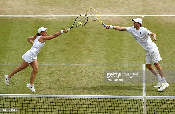 Lisa Raymond and Mike Bryan of the USA in action during their Mixed Doubles semi final match against Nenad Zimonjic of Serbia and Katarina Srebotnik...