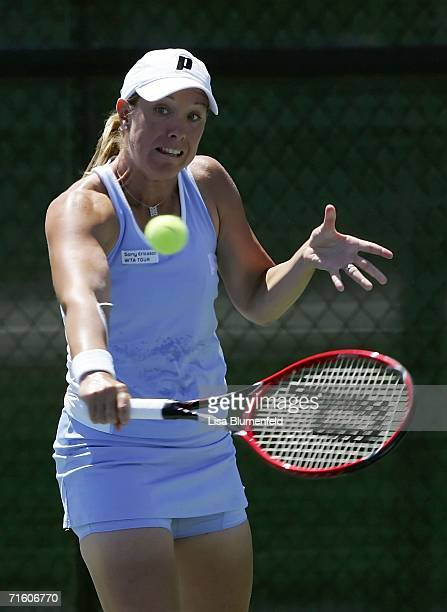 Lisa Raymond hits a backhand against Virginie Razzano of France on Day 2 of the JPMorgan Chase Open on August 8 2006 at Home Depot Center in Carson...