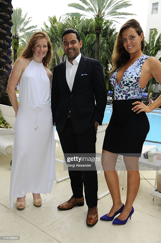 Lisa Reidt, Felix Polanco and Fabiana Poula attend the ABEST & ABIT Brazilian Swimwear Designers Cocktail Party during Mercedes-Benz Fashion Week Swim 2014 at The Raleigh on July 20, 2013 in Miami, Florida.