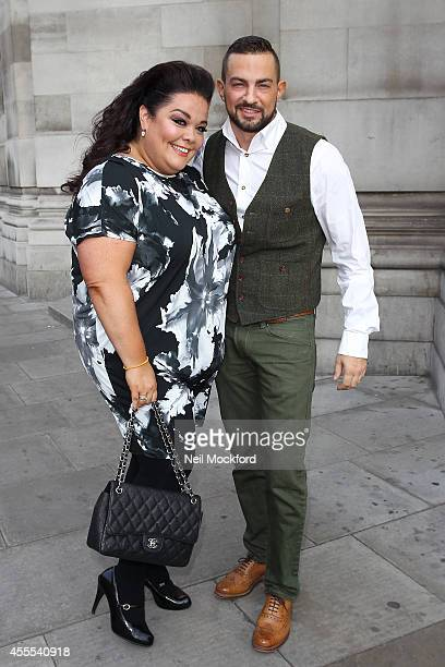 Lisa Riley and Robin Windsor arrive for the Evans show on September 16 2014 in London England