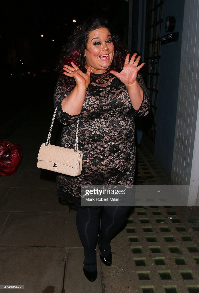Lisa Riley leaving the Groucho club on February 25, 2014 in London, England.