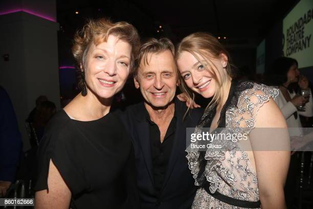Lisa Rinehart husband Mikhail Baryshnikov and daughter Anna Baryshnikov pose at the opening night after party for 'Time and The Conways' on Broadway...