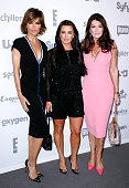 Lisa Rinna Kyle Richards and Lisa Vanderpump appear during the 2015 NBCUniversal Cable Entertainment Upfront at The Jacob K Javits Convention Center...