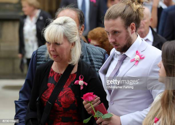 Lisa Roussos the mother of Saffie Rousso leaves following the funeral of the young Manchester Attack victim at Manchester Cathedral on July 26 2017...