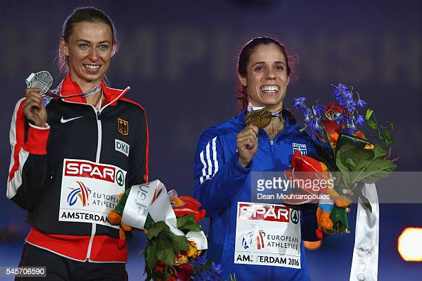 Lisa Ryzih of Germany and Ekaterini Stefanidi of Greece on the podium after receiving medals in the womens pole vault on day four of The 23rd...