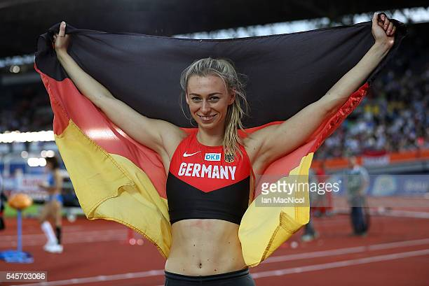 Lisa Ryzih of Germany celebrates winning silver in the womens pole vault on day four of The 23rd European Athletics Championships at Olympic Stadium...