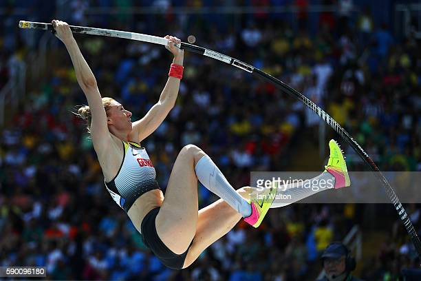 Lisa Ryzih of Germany competes during the Women's Pole Vault Qualifying Round Group A on Day 11 of the Rio 2016 Olympic Games at the Olympic Stadium...