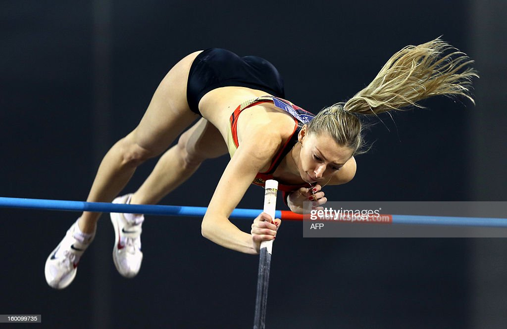 Lisa Ryzih of Germany competes in the Women's Pole Vault during The British Athletics Glasgow International Match at The Emirates Arena in Glasgow, Scotland, on January 26, 2013.