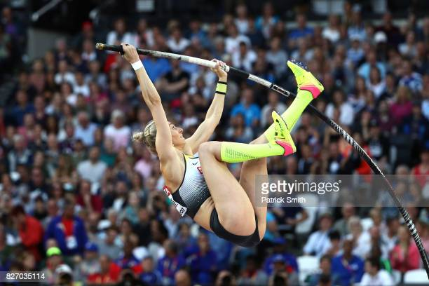Lisa Ryzih of Germany competes in the Women's Pole Vault final during day three of the 16th IAAF World Athletics Championships London 2017 at The...