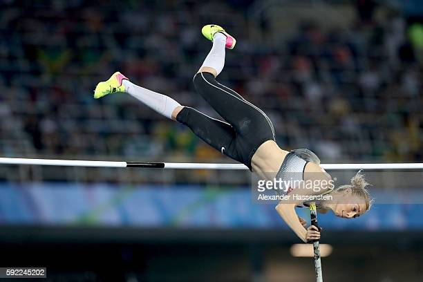 Lisa Ryzih of Germany competes in the Women's Pole Vault Final on Day 14 of the Rio 2016 Olympic Games at the Olympic Stadium on August 19 2016 in...