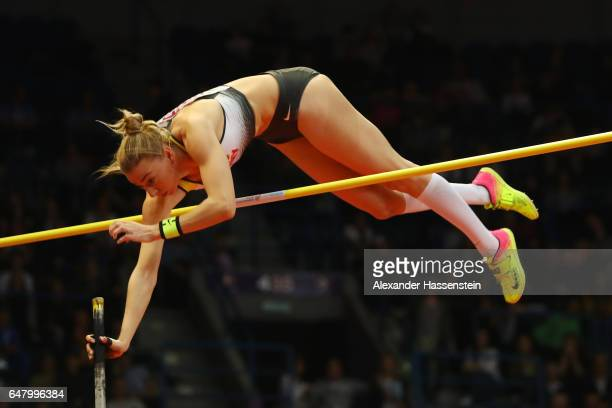 Lisa Ryzih of Germany competes in the Women's Pole Vault final on day two of the 2017 European Athletics Indoor Championships at the Kombank Arena on...
