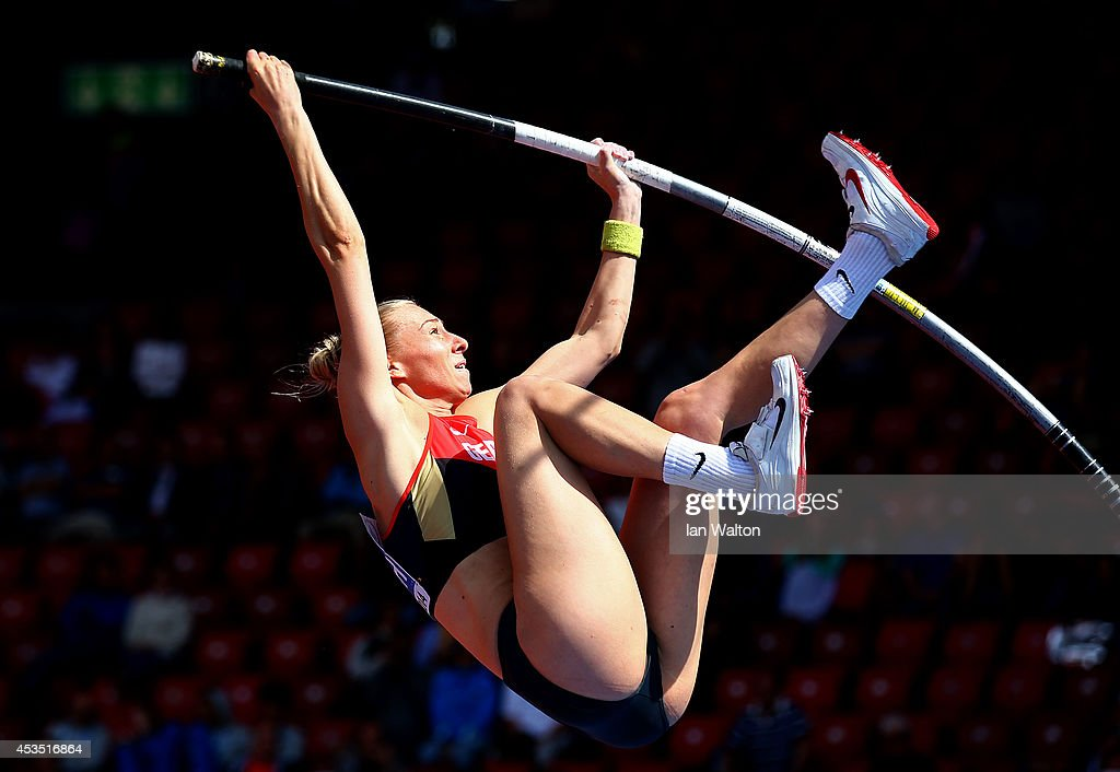 Lisa Ryzih of Germany competes in the Women's Pole Vault qualification during day one of the 22nd European Athletics Championships at Stadium Letzigrund on August 12, 2014 in Zurich, Switzerland.