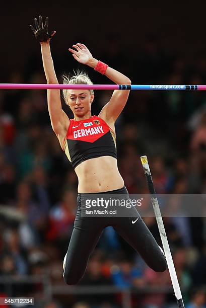 Lisa Ryzih of Germany in action during the final of the womens pole vault on day four of The 23rd European Athletics Championships at Olympic Stadium...