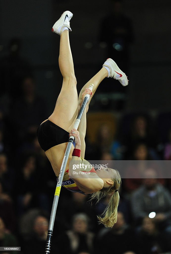 Lisa Ryzih of Germany in action during the Womens Pole Vault during the British Athletics International Match at the Emirates Arena on January 26, 2013 in Glasgow, Scotland.