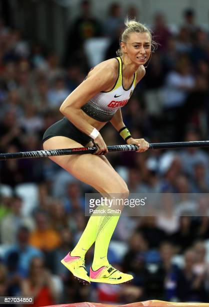 Lisa Ryzih of Germany reacts as she competes in the Women's Pole Vault final during day three of the 16th IAAF World Athletics Championships London...