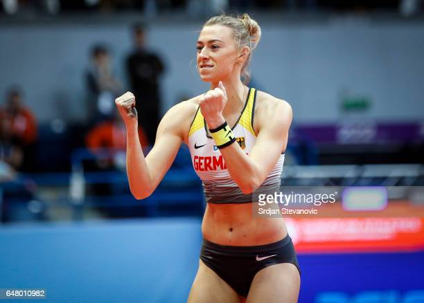 Lisa Ryzih of Germany reacts during the Women's Pole Vault final on day two of the 2017 European Athletics Indoor Championships at the Kombank Arena...