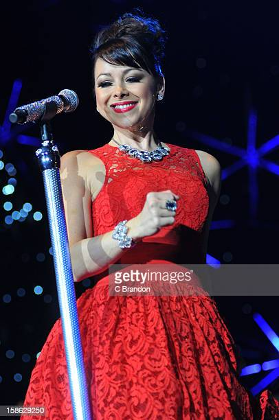Lisa ScottLee of Steps performs on stage at the Hit Factory Live Christmas Cracker at 02 Arena on December 21 2012 in London England