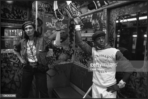 Lisa Sliwa a member of the Guardian Angels and married to its founder Curtis Sliwa patrols the subway while dressed in her Guardian Angels uniform...