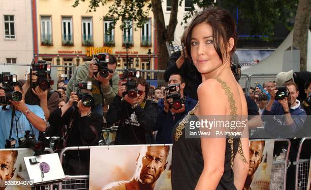 Lisa Snowdon arrives for the UK Premiere of Die Hard 40 at The Empire Cinema in Leicester Square central London