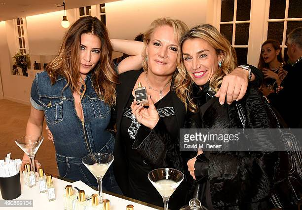 Lisa Snowdon Caroline Shapiro and Anastasia Webster attend the Azzi Glasser Fragrance Launch at Harvey Nichols on October 1 2015 in London United...