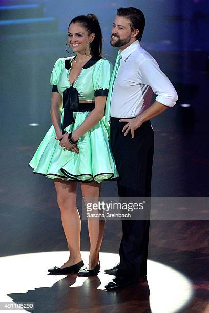 Lisa Steiner and Felix von Jascheroff react after being retired during the 4th live show of the television competition 'Stepping Out' on October 2...
