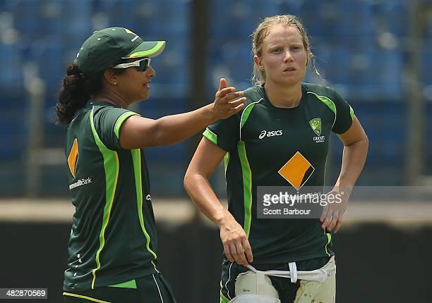 Lisa Sthalekar assistant coach speaks with Alyssa Healy of Australia during an Australia Women's nets session ahead of the ICC World Twenty20...