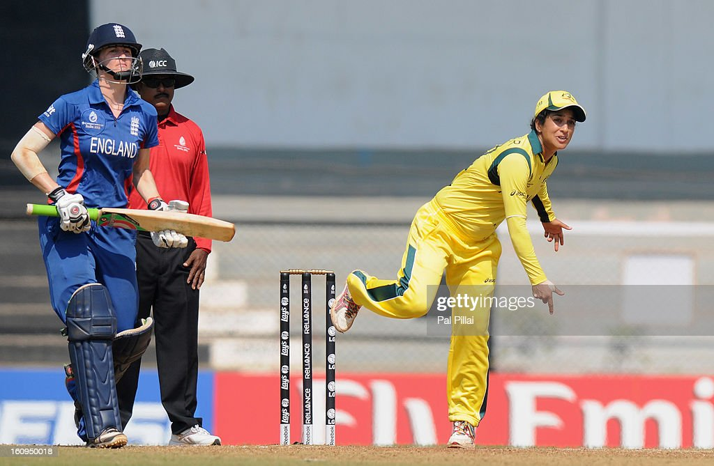 Lisa Sthalekar of Australia bowls during the super six match between England and Australia held at the CCI (Cricket Club of India) on February 8, 2013 in Mumbai, India.
