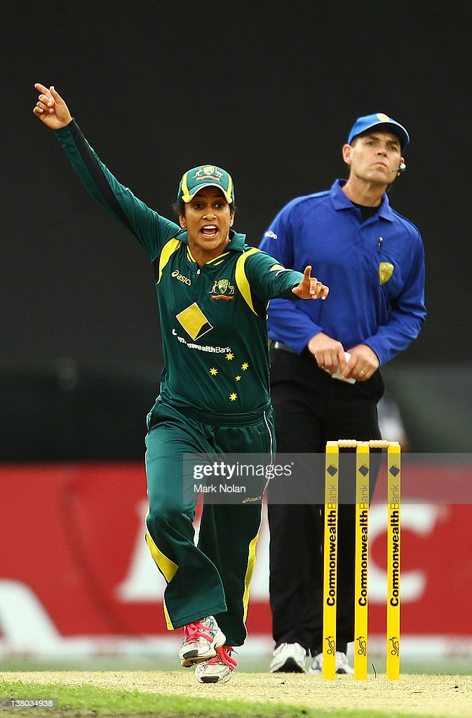 <a gi-track='captionPersonalityLinkClicked' href=/galleries/search?phrase=Lisa+Sthalekar&family=editorial&specificpeople=178307 ng-click='$event.stopPropagation()'>Lisa Sthalekar</a> of Australia celebrates getting a wicket during the Women's International Twenty20 match between the Australian Southern Stars and New Zealand at ANZ Stadium on February 1, 2012 in Sydney, Australia.