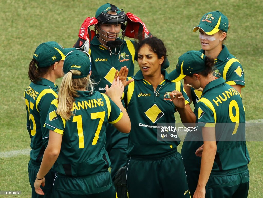 <a gi-track='captionPersonalityLinkClicked' href=/galleries/search?phrase=Lisa+Sthalekar&family=editorial&specificpeople=178307 ng-click='$event.stopPropagation()'>Lisa Sthalekar</a> (C) of Australia celebrates taking the wicket of Liz Perry of New Zealand during the Women's Twenty20 match between the Australian Southern Stars and New Zealand at North Sydney Oval on January 22, 2012 in Sydney, Australia.