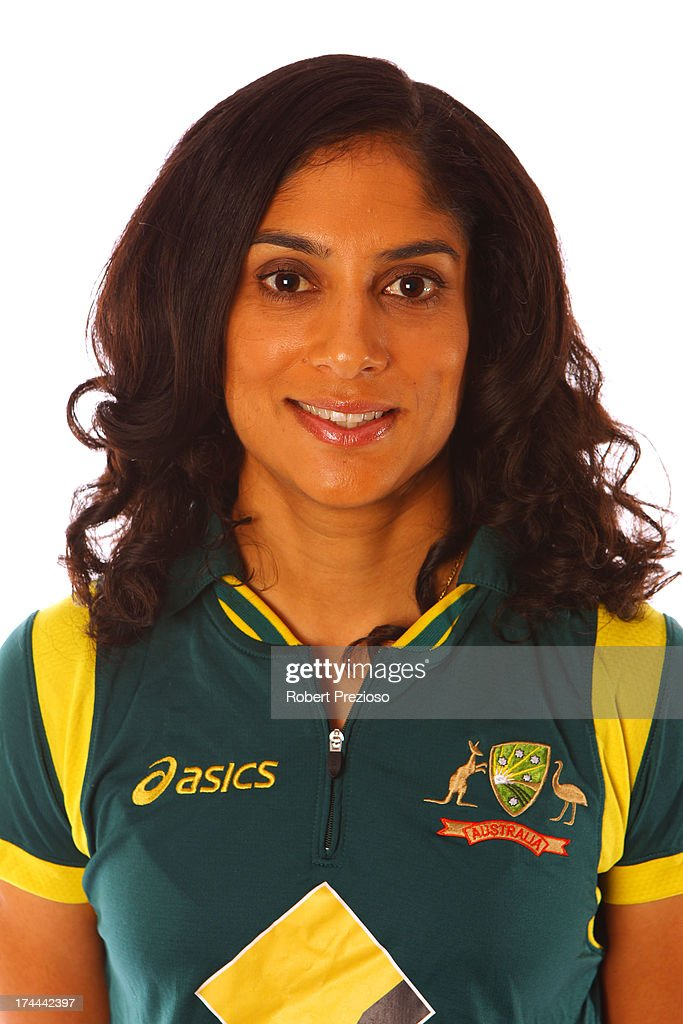 <a gi-track='captionPersonalityLinkClicked' href=/galleries/search?phrase=Lisa+Sthalekar&family=editorial&specificpeople=178307 ng-click='$event.stopPropagation()'>Lisa Sthalekar</a> poses during the official Southern Stars Australian women's cricket team portrait session on August 2, 2012 in Melbourne, Australia.