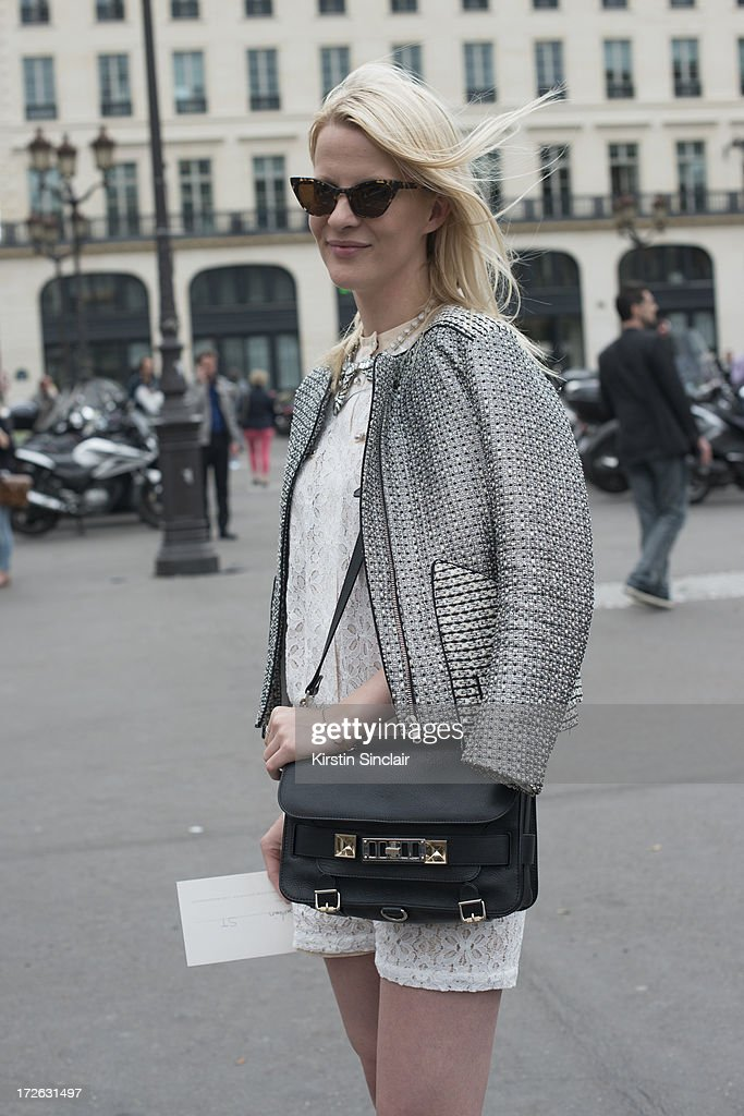 Lisa Stokland wears a Sandro jacket and playsuit, Kaibosh glasses and Proenza Schouler bag on day 3 of Paris Collections: Womens Haute Couture on July 03, 2013 in Paris, France.