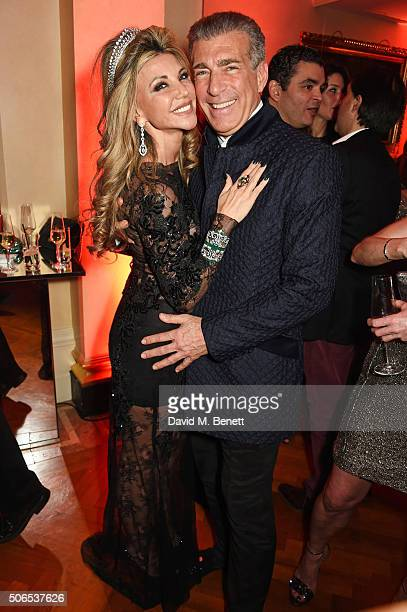Lisa Tchenguiz and Steve Varsno attend Lisa Tchenguiz's birthday party on January 23 2016 in London England