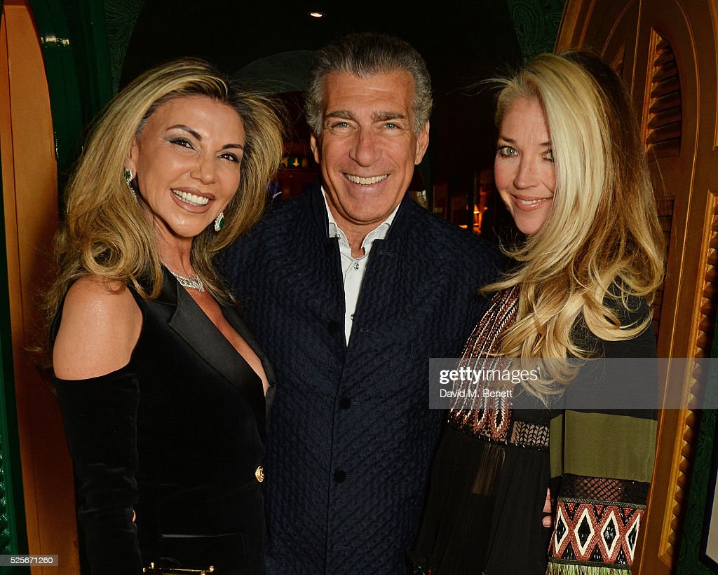 Lisa Tchenguiz, Steve Varsano and Tamara Beckwith attend a private dinner hosted by Fawaz Gruosi, founder of de Grisogono, at Annabels on April 28, 2016 in London, England.