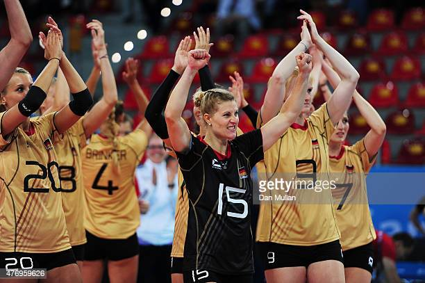 Lisa Thomsen of Germany and teammates celebrate victory in the Women's Volleyball Preliminary Round match against Bulgarisduring day one of the Baku...