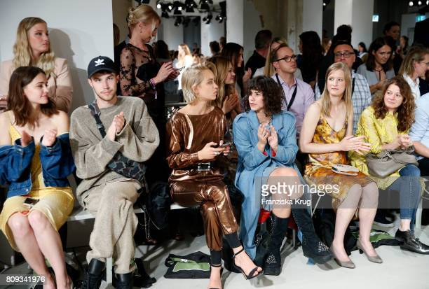 Lisa Valz Caro Cult Lucie Soekeland Stephanie Stremler and guests attend the Rebekka Ruetz show during the MercedesBenz Fashion Week Berlin...