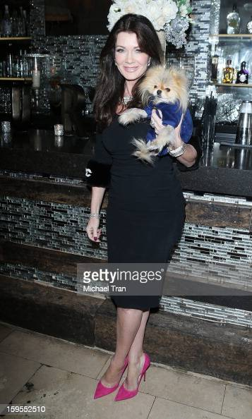 Lisa Vanderpump and Giggy attend the 'How Lavish Will Your 2013 Be' event held at Sur Restaurant on January 15 2013 in Los Angeles California