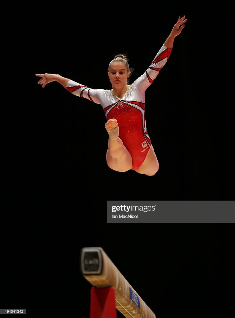 Lisa Verschueren of Belgium competes on the beam during day two of the 2015 World Artistic Gymnastics Championships at The SSE Hydro on October 24, 2015 in Glasgow, Scotland.