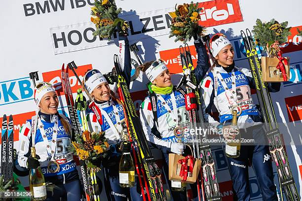 Lisa Vittozzi Karin Oberhofer Federica Sanfilippo Dorothea Wierer of Italy takes 1st place during the IBU Biathlon World Cup Men's and Women's Relay...
