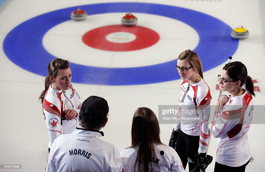 Lisa Weagle, Alison Kreviazuk, Emma Miskew and Rachel Homan of Canada speak to their coach Earle Morris in a time out during the 3rd and 4th Play-Off match between USA and Canada on Day 8 of the Titlis Glacier Mountain World Women's Curling Championship at the Volvo Sports Centre on March 23, 2013 in Riga, Latvia.