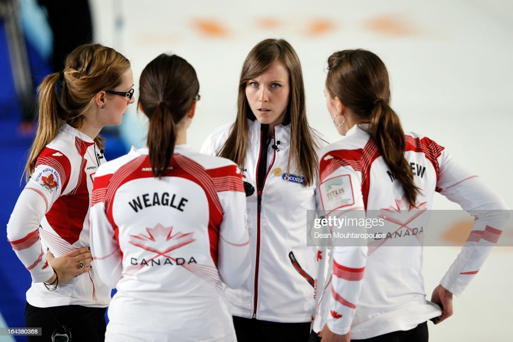 Lisa Weagle, Alison Kreviazuk (L), Emma Miskew (R) and Rachel Homan (2nd from R) of Canada speak during the semi final match between Scotland and Canada on Day 8 of the Titlis Glacier Mountain World Women's Curling Championship at the Volvo Sports Centre on March 23, 2013 in Riga, Latvia.