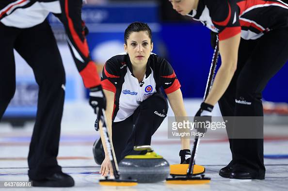 Lisa Weagle of Ontario delivers a stone in a draw eleven match against Newfoundland Labrador during the 2017 Scotties Tournament of Hearts at the...