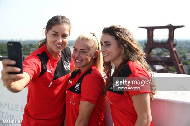 Lisa Weiss Ina Lehmann and Ramona Petzelberger during a general view behind the scenes of the Allianz Frauen Bundesliga Club Tour of of SGS Essen at...