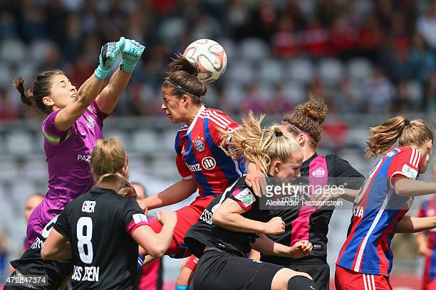 Lisa Weiss keeper of Essen saves the ball against Lena Lotzen of Muenchen during the Allianz FrauenBundesliga match between FC Bayern Muenchen and...