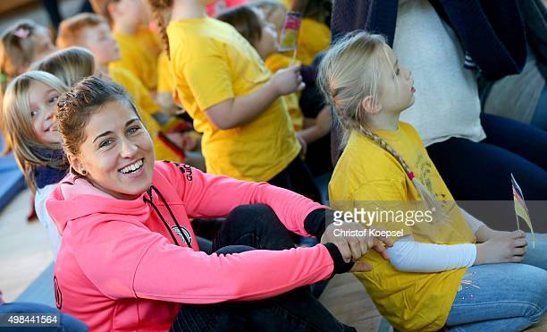 Lisa Weiss of Germany Women's Football Team visits the Gemeinschaftsgrundschule Lauenburger Allee on November 23 2015 in Duisburg Germany