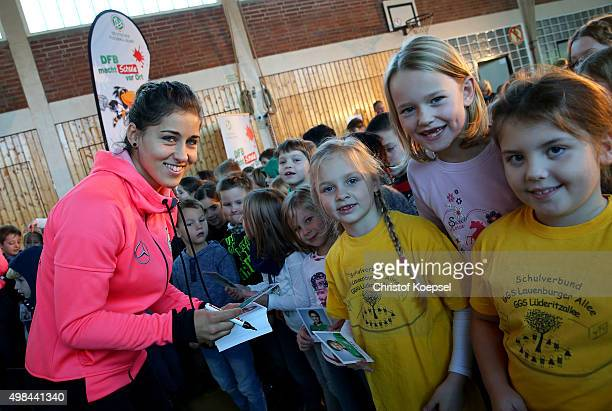 Lisa Weiss signs autographs and visit the Gemeinschaftsgrundschule Lauenburger Allee on November 23 2015 in Duisburg Germany