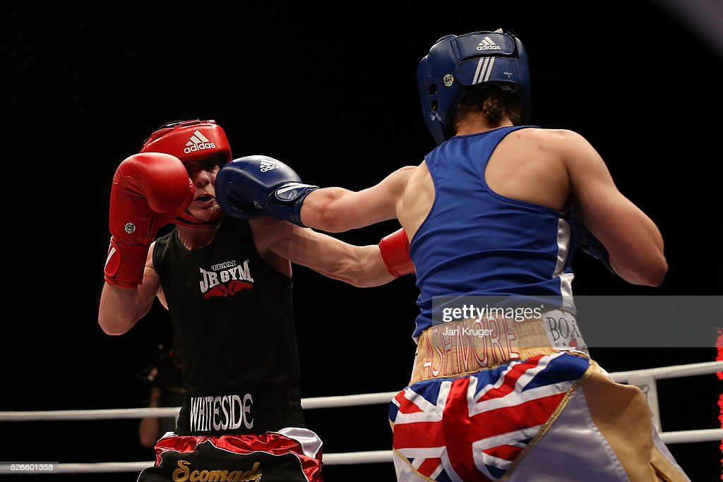 Lisa Whiteside (red gloves) in action against Jade Ashmore in their 51kg final bout during day three of the Boxing Elite National Championships at Echo Arena on May 01, 2016 in Liverpool, England.
