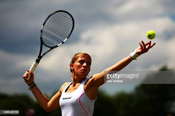 Lisa Whybourn of Great Britain serves during the ladies' qualifying singles first round match against Sarah Gronert of Germany on day two of the...