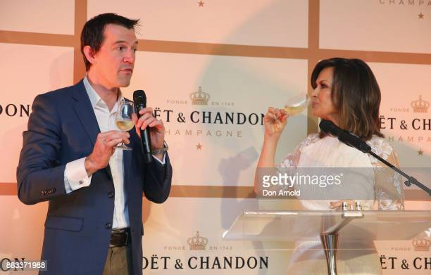 Lisa Wilkinson and Tyson Stelzer announce a toast at Sydney Opera House on October 20 2017 in Sydney Australia More than 800 people gathered to...